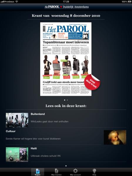 Het Parool op iPad - startpagina