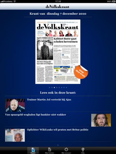 de Volkskrant op iPad - Startpagina